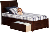 Atlantic Portland Twin XL Walnut Flat-panel Foot Board With 2 Urban Bed Drawers