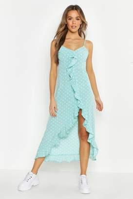 boohoo Polka Dot Wrap Front Ruffle Hem Midi Dress