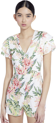 Alice + Olivia Macall Floral Ruffle Romper