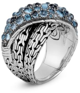 John Hardy Classic Chain Silver, London Blue Topaz, Swiss Blue Topaz & Blue Zircon Crossover Ring