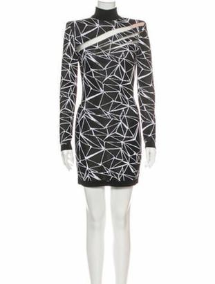 Balmain Turtleneck Mini Dress Black