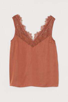 H&M Lace-trimmed Top - Orange