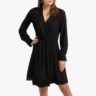 Short Wrapover Dress with Long Sleeves