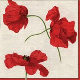 Caspari Dancing Poppies Paper Luncheon Napkins, Pack of 20, Ivory