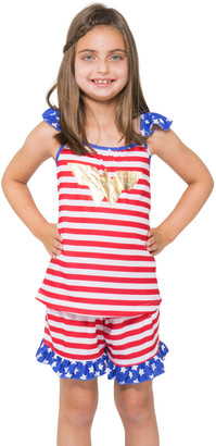 Intimo Girls' Sleep Bottoms PR801: - Wonder Woman Red & Blue Stripe Pajama Set - Toddler & Girls