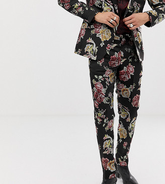 Heart N Dagger skinny suit trousers in metallic floral-Black