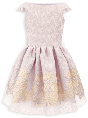 David Charles Girl's Off-The-Shoulder Ruffle Dress