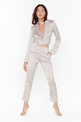 Nasty Gal Womens Sleek the Truth Satin Tapered Trousers - Beige - L