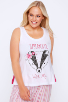 Yours Clothing White & Pink Lace Badger 'Hibernate With Me' Print Pyjama Vest Top
