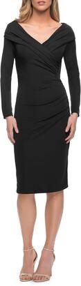 La Femme Long Sleeve Ruched Cocktail Dress