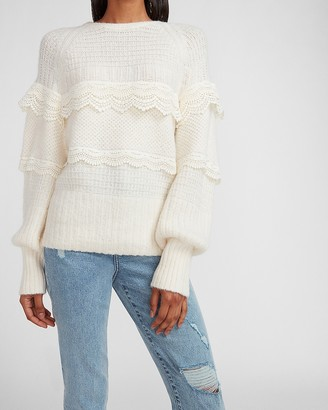 Express Tiered Lace Ribbed Sweater