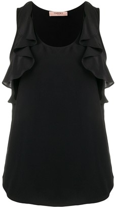 Twin-Set Ruffle Detail Curved Hem Top
