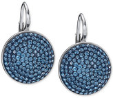 Swarovski Silver-Tone Blue Crystal Disc Drop Earrings