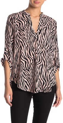 Lush Printed Split Neck Crepe Blouse
