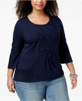 Style&Co. Style & Co Plus Size Embroidered Eyelet-Trim Top, Created for Macy's