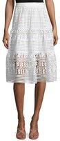 Diane von Furstenberg Tiana Tiered Lace A-Line Skirt, White