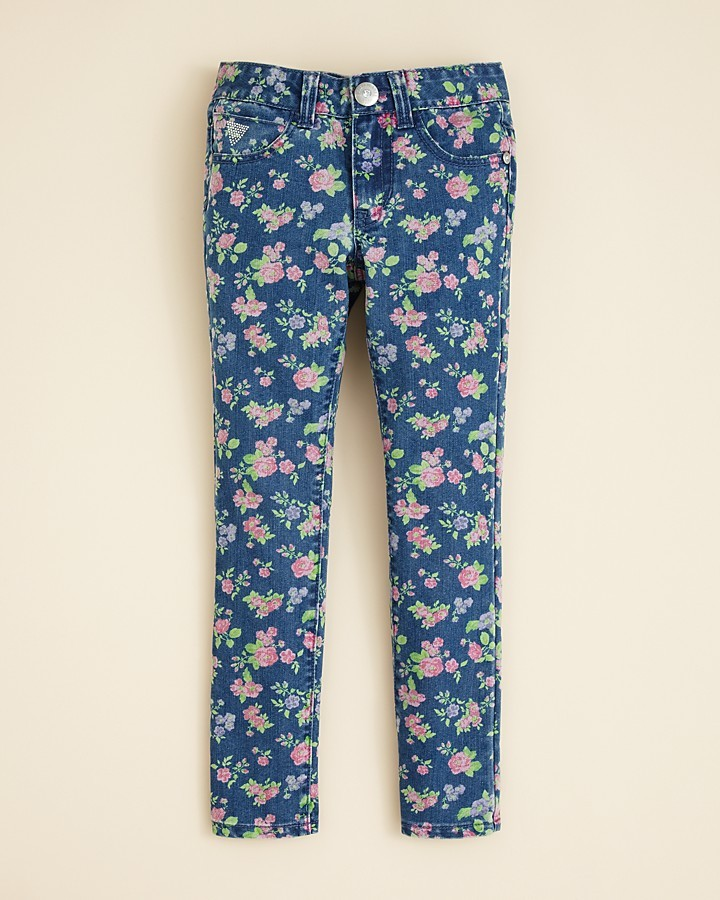GUESS Girls' Daredevil Floral Skinny Jeans - Sizes 7-16