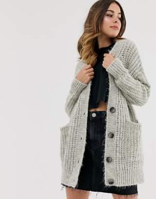 Asos Design DESIGN rib knit button cardigan in oversized shape-Gray