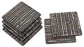 Black Natural Fiber and Wood Coasters (Set of 6), 'Beach Sand in Black'