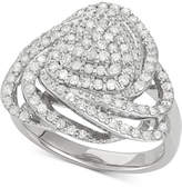Wrapped in LoveTM Diamond Triangle Floral Ring (1 ct. t.w.) in Sterling Silver