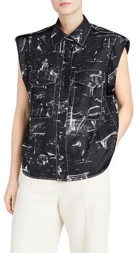Burberry Seaport Teya Silk Printed Sleeveless Shirt