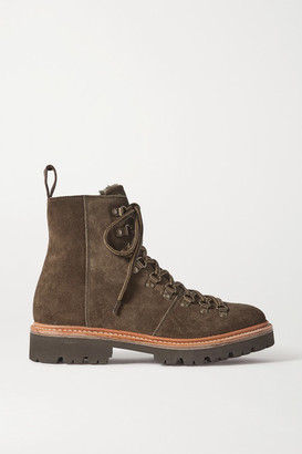 Grenson Nanette Shearling-lined Suede Ankle Boots - Army green
