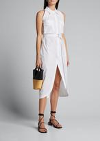 Helmut Lang Sleeveless Cotton Shirtdress w/ Cutaway Hem