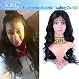KBL 7A Brazilian 180% Density Free Part Silk Base Front Lace Wig Loose Wave Virgin Hair With Baby Hair 14-24inch Natural Black (24'')