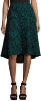 Catherine Malandrino Velvet Jacquard High-Low Skirt, Black Pattern
