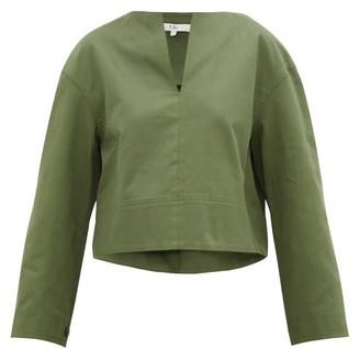 Tibi Harrison Slit-neck Cotton-twill Blouse - Womens - Green