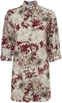 Apricot Burgundy & Stone Dandelion Print Longline Shirt