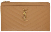 Saint Laurent Brown Monogramme Bill Pouch