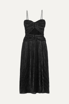 Jonathan Simkhai Ruched Plisse-lurex Midi Dress - Black