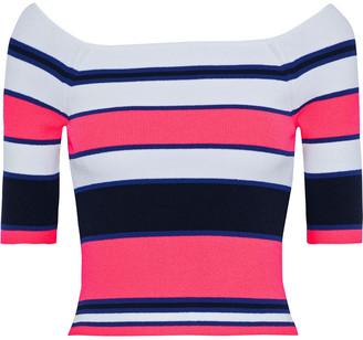 Autumn Cashmere Cropped Striped Stretch-knit Top