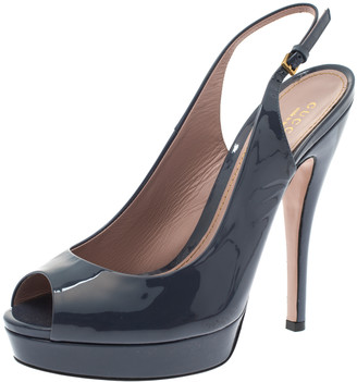 Gucci Dark Grey Patent Leather Platform Peep Toe Slingback Sandals Size 39.5