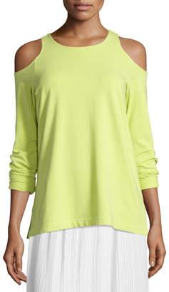 Joan Vass Cold-Shoulder Long-Sleeve Top
