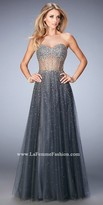 La Femme Sparkling Sheer Tulle Prom Dress