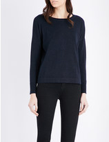 The White Company Cropped metallic-knit jumper