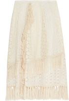 See by Chloe Tasseled Crocheted Lace Skirt - Off-white