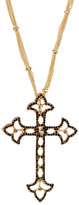 Cara Accessories Multi-Stranded Beaded Cross Chain Necklace