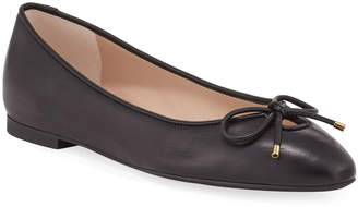 Stuart Weitzman Gabby Leather Keyhole Bow Flats, Black