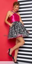 Mac Duggal Script Halter Neckline Cocktail Dress
