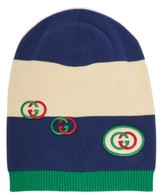 Gucci Stripe-intarsia Cotton Beanie Hat - Mens - Navy Multi