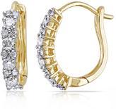 14K Yellow Gold 0.48ctw White Diamond Cuff Earrings