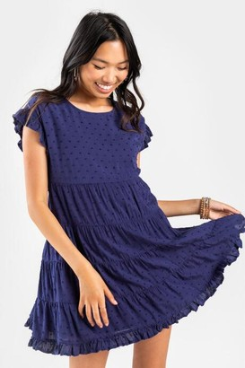 francesca's Sonny Clip Dot Mini Babydoll Dress - Blush