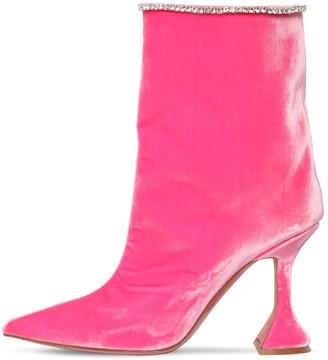 Amina Muaddi 100mm Mia Velvet-effect Ankle Boots