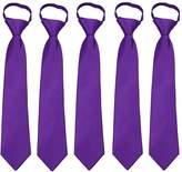 FoMann Kids Solid Color Zipper Tie 14 inch Boys Zipper Neckties 5 Pcs