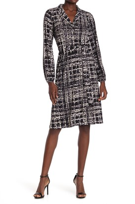 London Times Jersey Windowpane Printed Shirt Dress