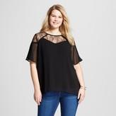 U-knit Women's Plus Size Lace Yoke Short-Sleeve Blouse
