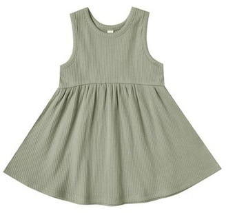 Quincy Mae Ribbed Tank Dress - Moss - 18-24 Months